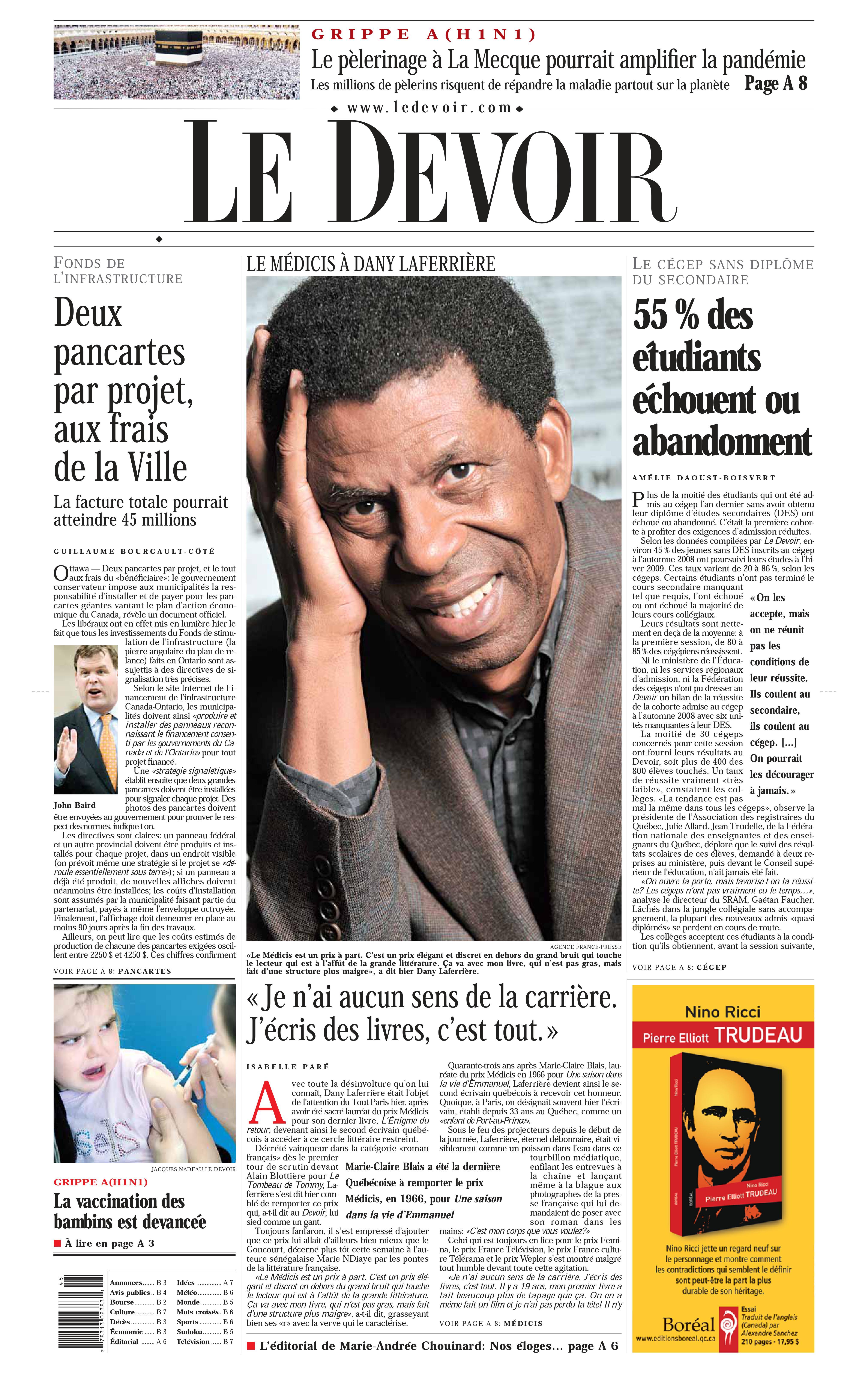 Frontpage Le Devoir 5 nov 2009
