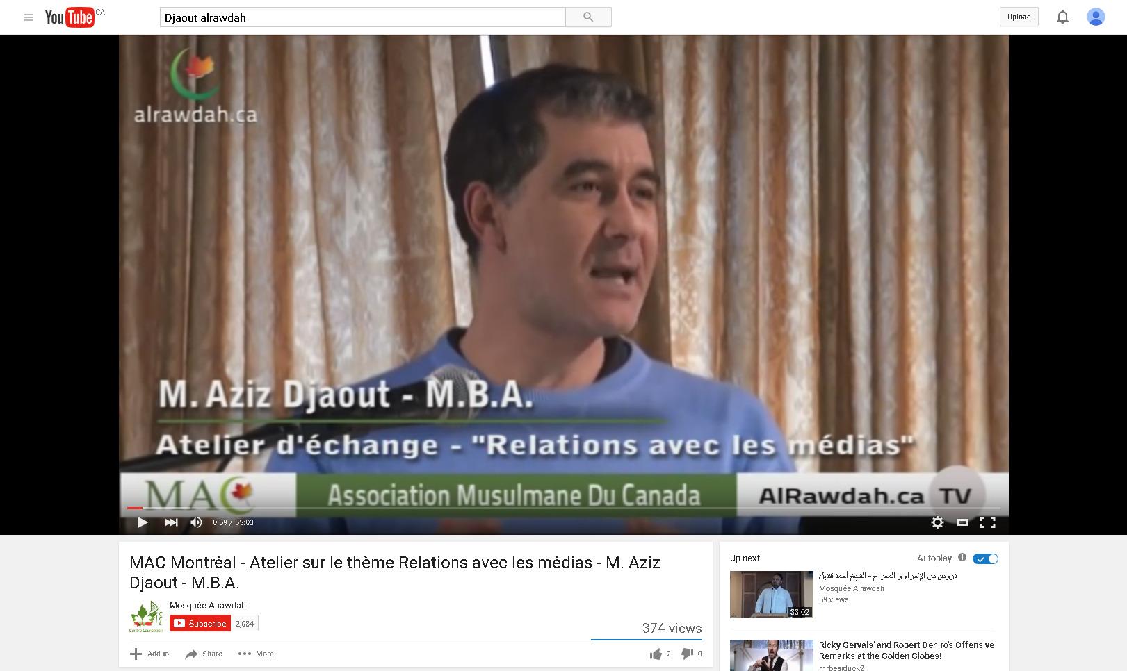 MAC Montréal - Atelier sur le thème Relations avec les médias - M. Aziz Djaout - M.B.A. - YouTube 2016-01-28 10-59-40