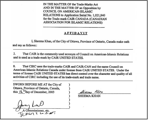 National council of canadian muslims the new name chosen by cair cair can affidavit sheema khan altavistaventures Gallery