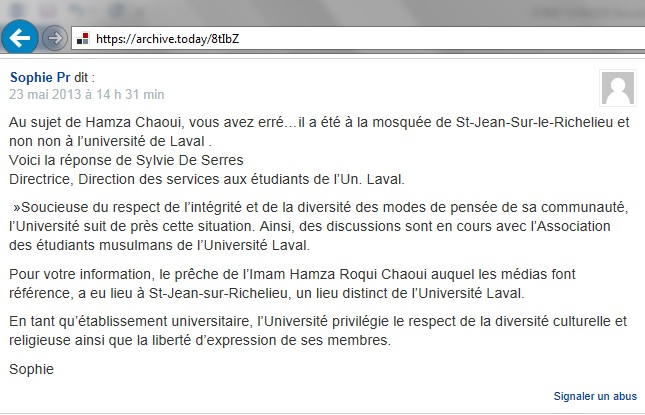 Chaoui Hamza Un Laval Réponse