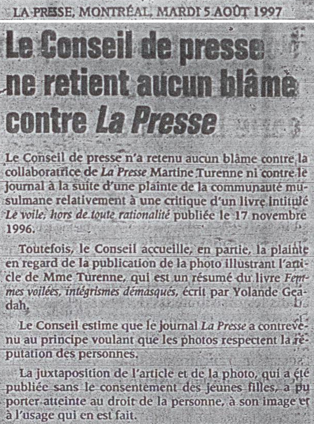 Conseil de Presse La Presse August 5 1997 c