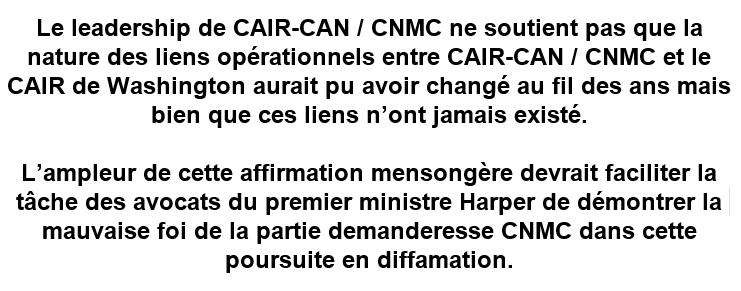 CAIR-MTL Affirmation mensongère