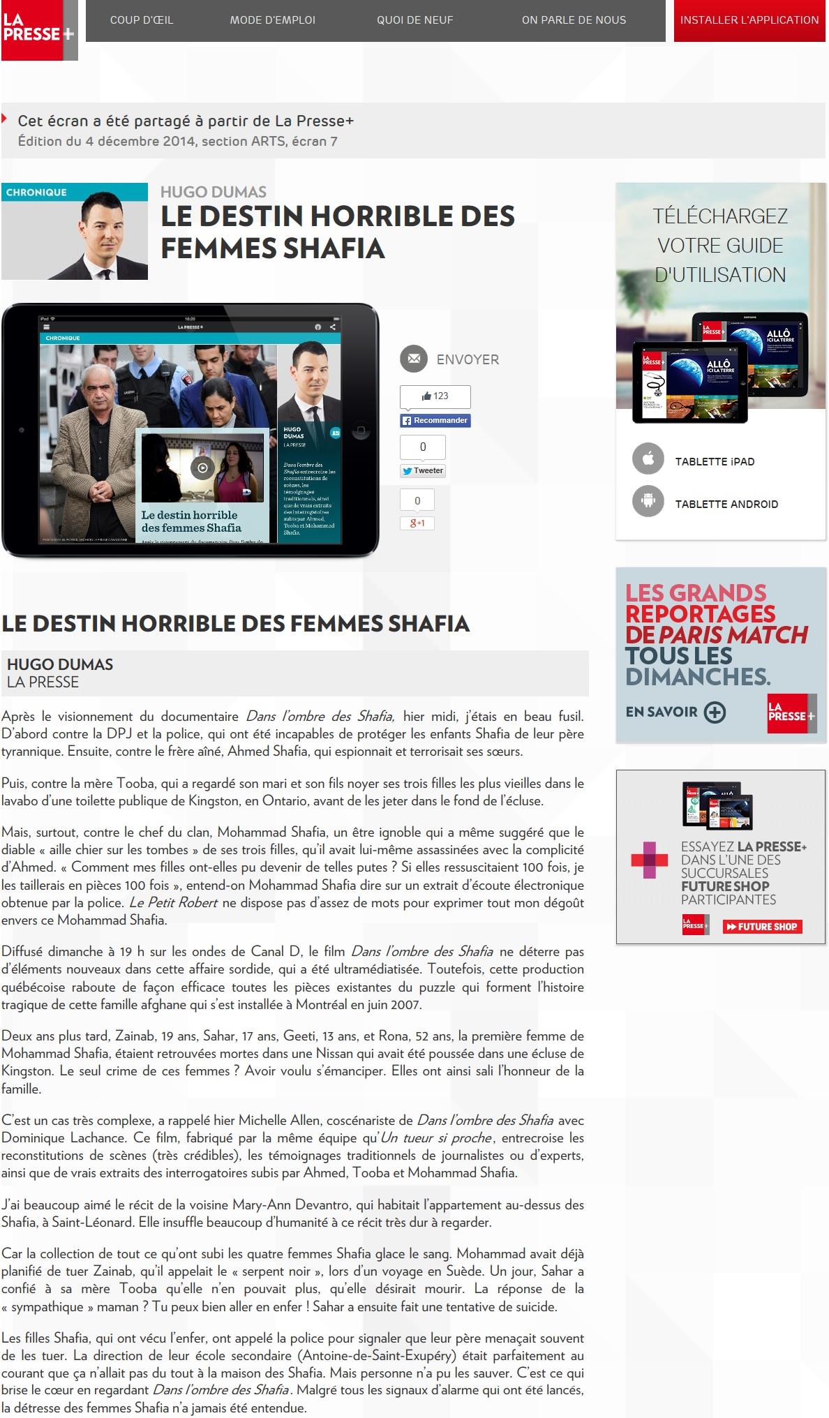 Shafia Hugo Dumas article