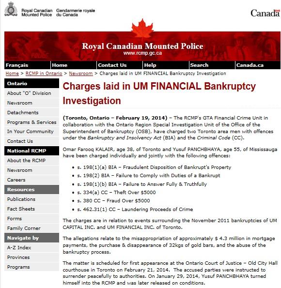 Kalair RCMP Press release