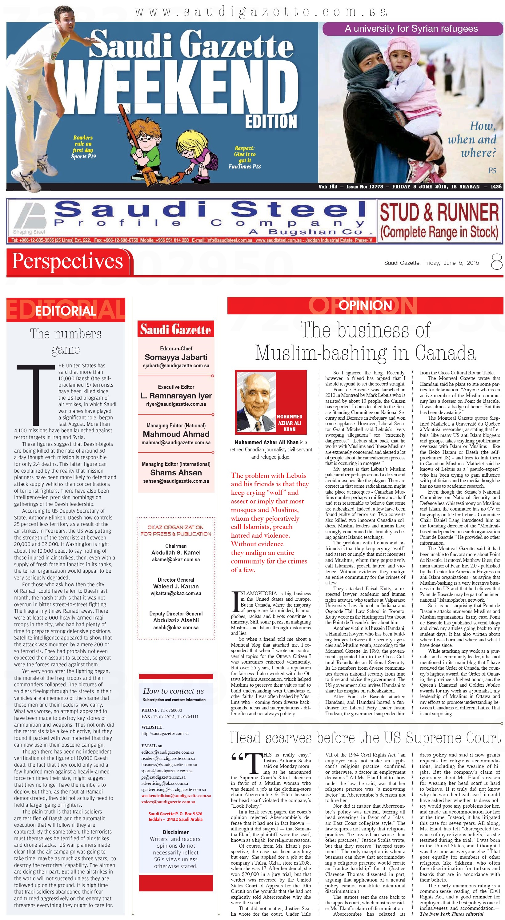 ALI KHAN Saudi Gazette PdeB Full paper