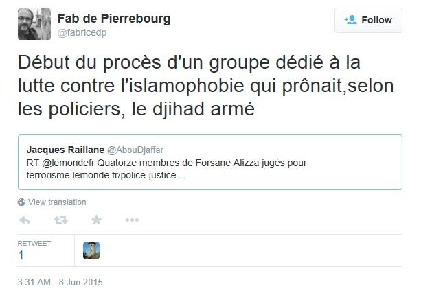 De Pierrebourg Twitter Islamophobie Jihad