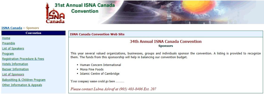 HCI Sponsor ISNA 2008-2