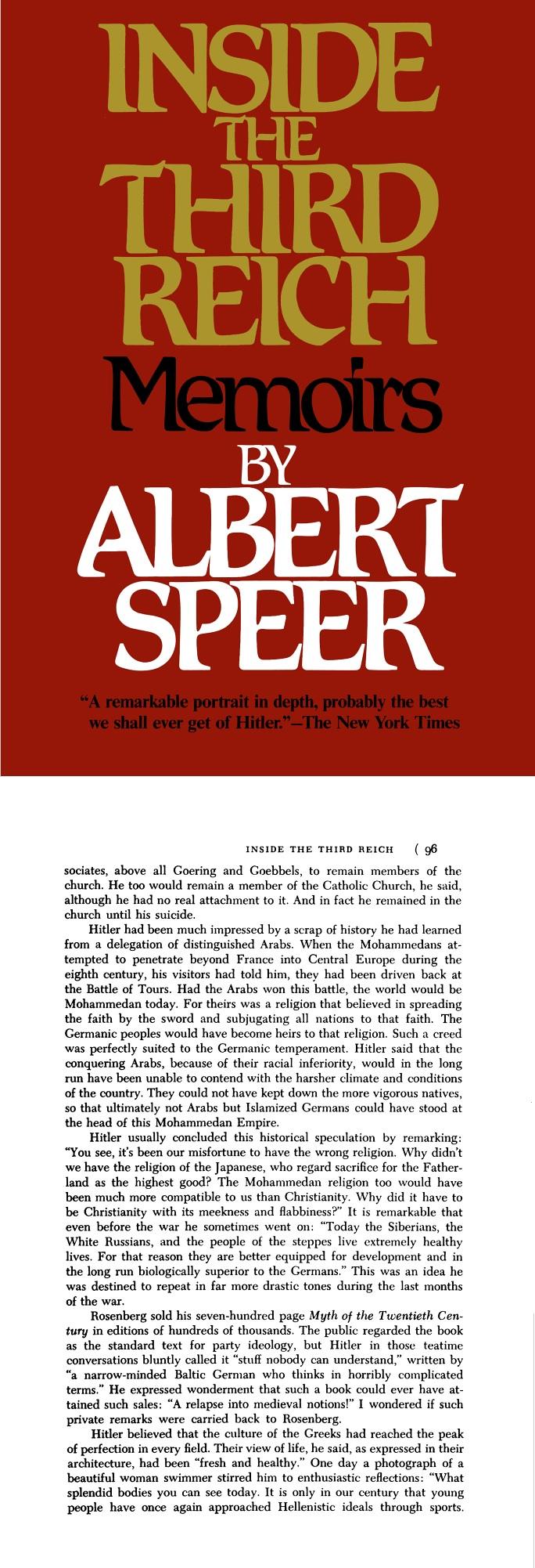 HITLER Speer Albert Islam
