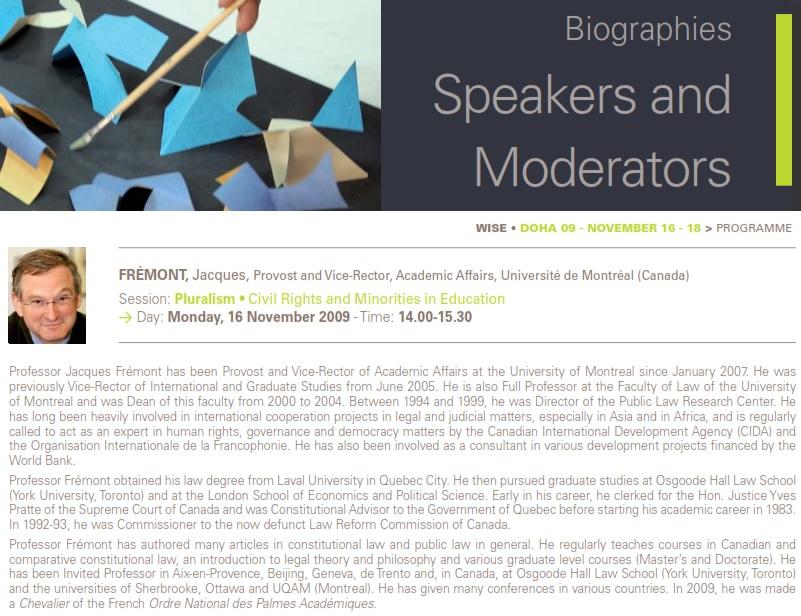 Qatar Foundation 2009 Frémont J Profile