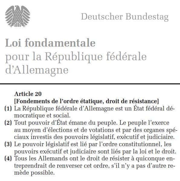 Allemagne Constitution Art 20
