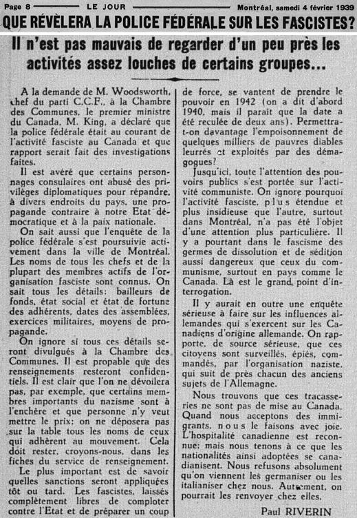 Jour 1939_02_04 Facisme Canada