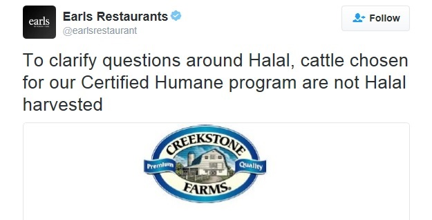 Earls claims that its beef is not 'halal harvested' but its