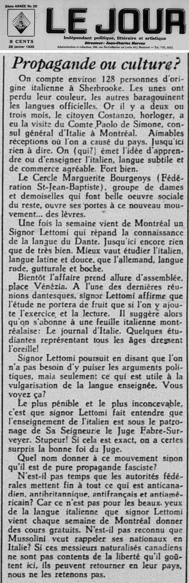 Jour 1939_01_20 Propagande Culture