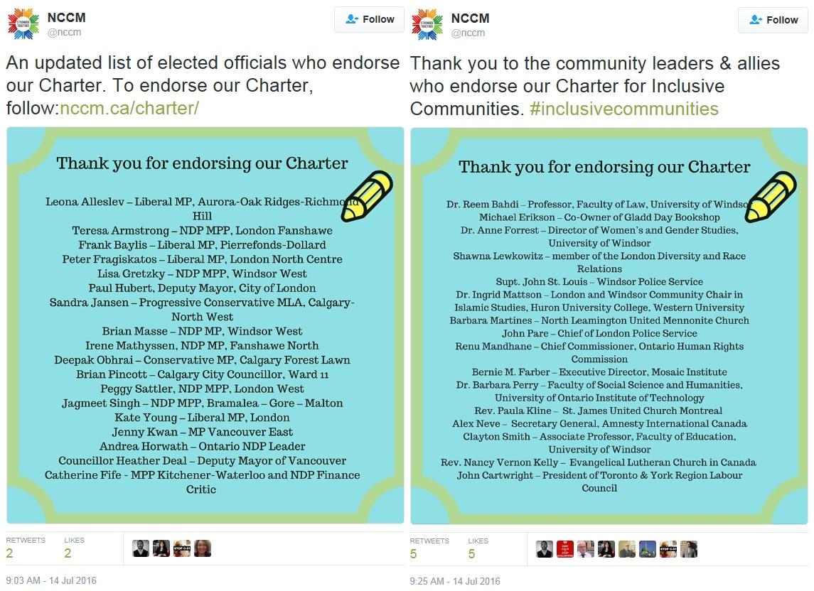 NCCM Charter Endorsements