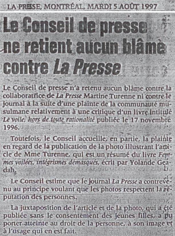 CAIR-MTL Conseil presse 1997